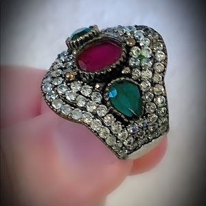 Divine Cluster Ruby Emerald Sterling Silver Ring